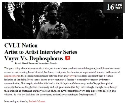 CVLT Nation  Artist to Artist Interview Series Vuyvr Vs. Dephosphorus