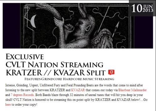 Exclusive  CVLT Nation Streaming KRATZER // KVAZAR Split