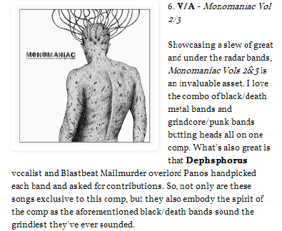 """Monomaniac vol.2/3 @ PERPETUAL STRIFE's """"Sweatin' The Small Stuff: Best EPs, Splits, and Comps of 2013"""""""