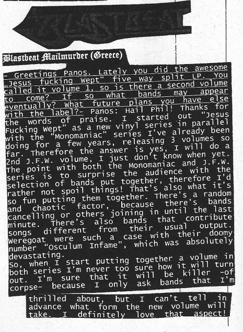 Blastbeat Mailmurder Interview published at Temple Of Adoration zine#11